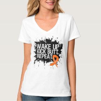 Leukemia Wake Up Kick Butt Repeat T-Shirt