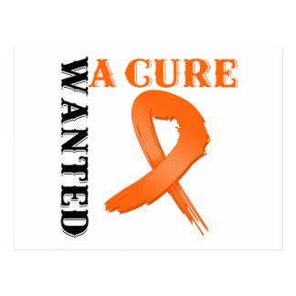 Leukemia WANTED A CURE Postcard