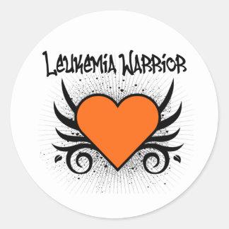 Leukemia Warrior Heart Classic Round Sticker