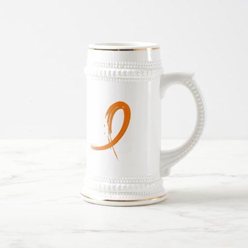 Leukemia's Orange Ribbon A4 18 Oz Beer Stein