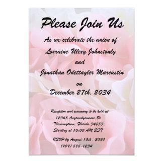 leus blancos rosados invitación 12,7 x 17,8 cm
