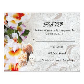 """Leus de la orquídea del Plumeria en el boda de Invitación 4.25"""" X 5.5"""""""