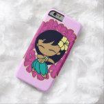 Leus hawaianos del Plumeria del chica de Hula de Funda De iPhone 6 Barely There