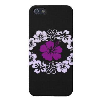 Leus púrpuras del hibisco iPhone 5 protectores