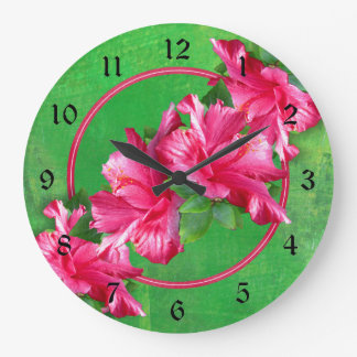 Leus rosados hawaianos del hibisco reloj redondo grande