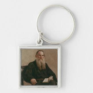 Lev Tolstoy 1887 Llavero Cuadrado Plateado