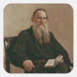 Lev Tolstoy 1887 Pegatina Cuadrada