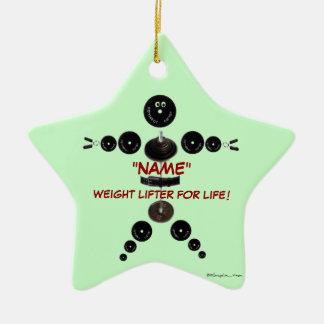 Levantador de peso de encargo del navidad adorno navideño de cerámica en forma de estrella