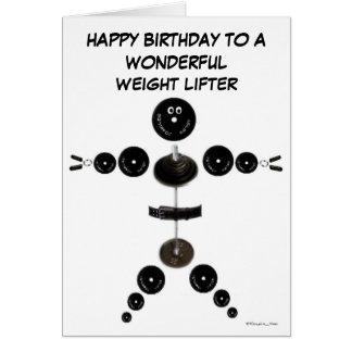 Levantador de peso del feliz cumpleaños tarjeta de felicitación