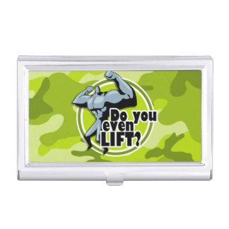 Levantador de peso divertido; camo verde claro, cajas de tarjetas de presentación