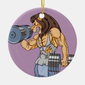levantador del león adorno navideño redondo de cerámica