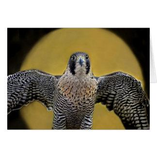Levantamiento de la luna del halcón de peregrino tarjeta de felicitación