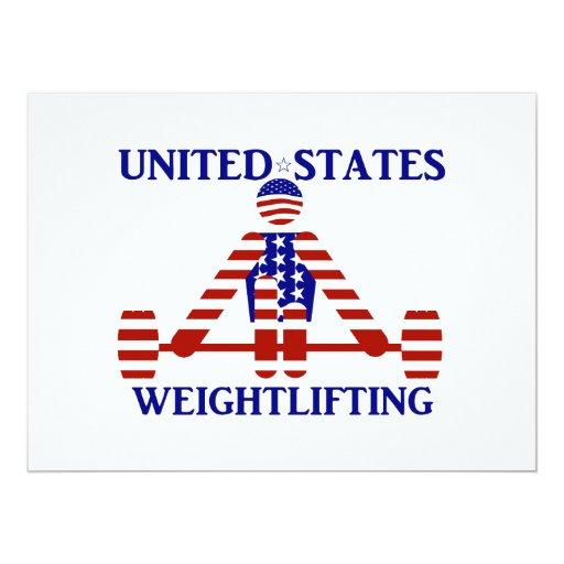 """Levantamiento de pesas de los E.E.U.U. - Invitación 6.5"""" X 8.75"""""""