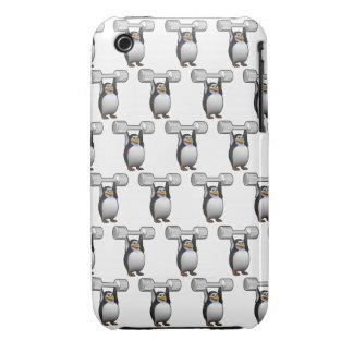 levantamiento de pesas de los pingüinos 3d (BG iPhone 3 Case-Mate Cárcasa