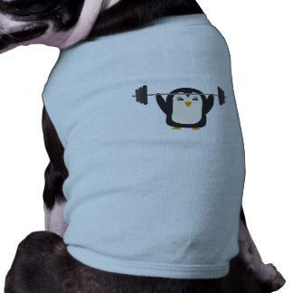 Levantamiento de pesas del pingüino playera sin mangas para perro