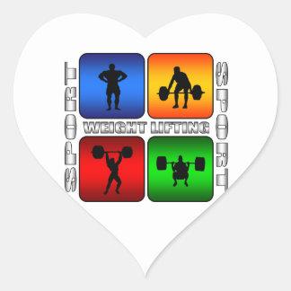 Levantamiento de pesas espectacular pegatina en forma de corazón