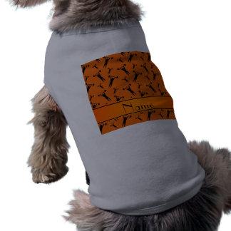 Levantamiento de pesas negro anaranjado conocido playera sin mangas para perro