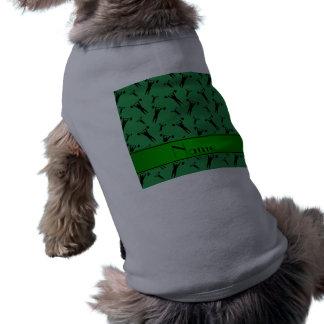 Levantamiento de pesas negro verde conocido playera sin mangas para perro