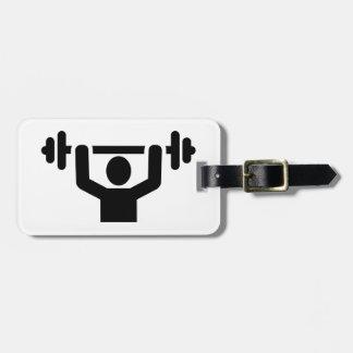Levantamiento de pesas powerlifting etiqueta de equipaje