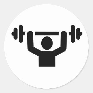 Levantamiento de pesas powerlifting etiqueta redonda