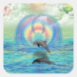 Levantamiento del delfín colcomanias cuadradas personalizadas