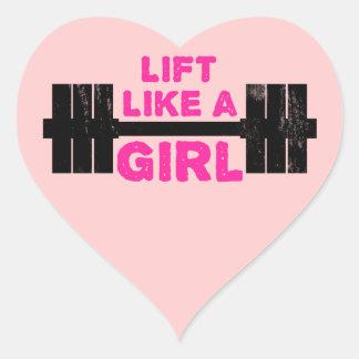 Levante como un chica pegatina en forma de corazón