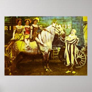 Levante el payaso y el circo del vintage del póster