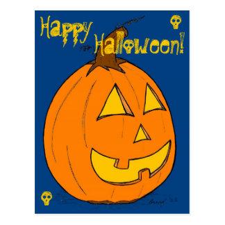 """Levante la postal azul del """"feliz Halloween"""" de la"""