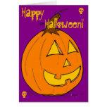 """Levante la tarjeta púrpura del """"feliz Halloween"""" d"""