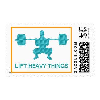 Levante las cosas pesadas - levantamiento de pesas sello