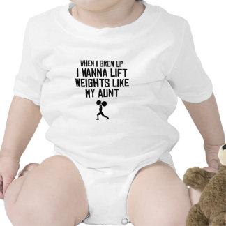 Levante los pesos como mi tía traje de bebé