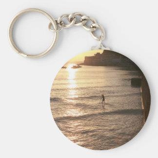 Levántese la puesta del sol San Sebastián del emba Llavero Redondo Tipo Pin