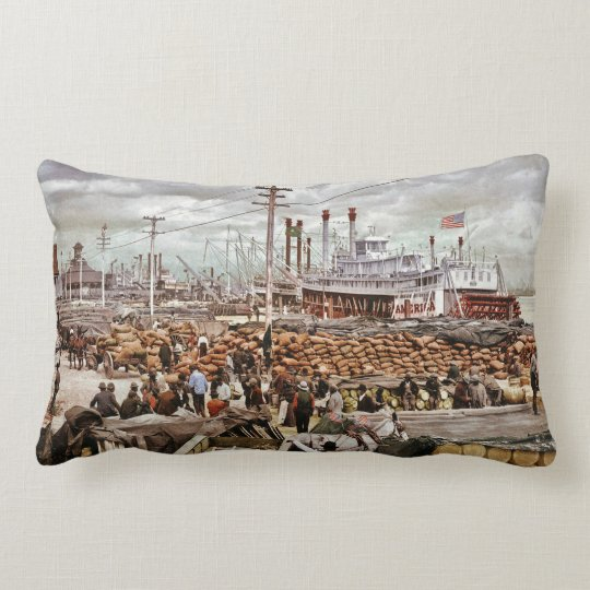 Levee at Canal Street New Orleans Vintage Lumbar Pillow