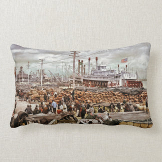 Levee at Canal Street New Orleans Vintage Pillows