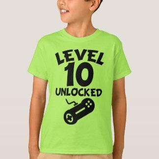 Level 10 Unlocked Video Games 10th Birthday T-Shir T-Shirt