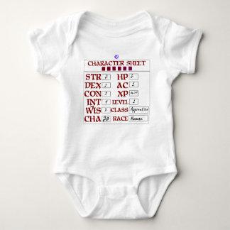 Level 1 Human Baby RPG Character Sheet T Shirt