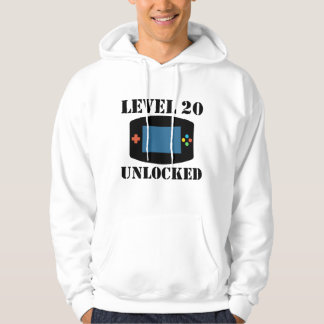 Level 20 Unlocked Video Games 20th Birthday Hoodie