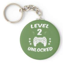 Level 2 Unlocked Gamer Shirt 2 years old Birthday Keychain