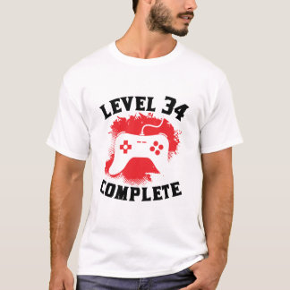 Level 34 Complete 34th Birthday T-Shirt
