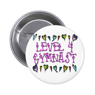 Level 4 Gymnast hearts Pinback Button