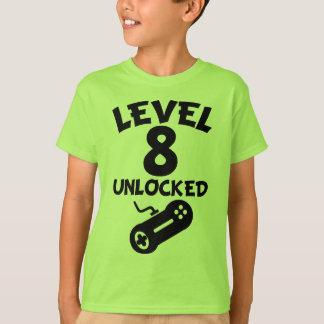 Level 8 Unlocked Video Games 8th Birthday T-Shirt
