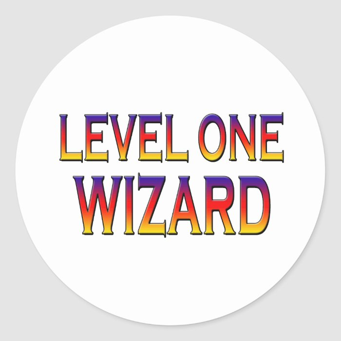 Level one wizard classic round sticker