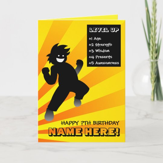 Level Up Gamer Birthday Card Personalisable Zazzle