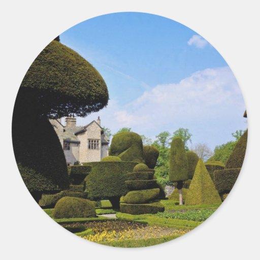 Levens Pasillo, jardín del topiary, Cumbria, Pegatina Redonda