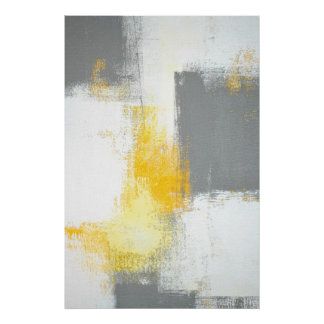 'Leverage' Grey and Brown Abstract Art Poster