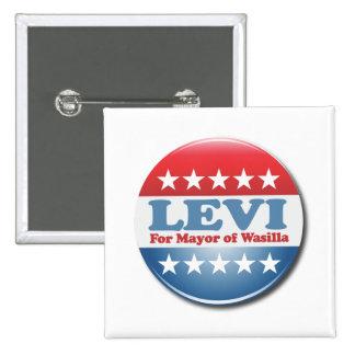 Levi para alcalde Button Pin Cuadrado