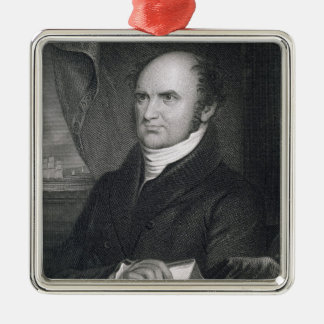 Levi Woodbury, engraved by Robert E. Whitechurch ( Square Metal Christmas Ornament