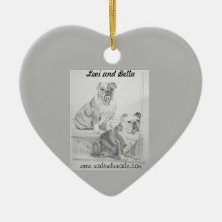 Levi y Bella Adorno Navideño De Cerámica En Forma De Corazón