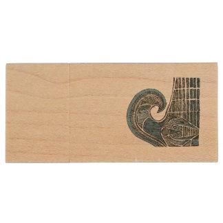 Leviathan Sketch - Color Wood USB Flash Drive
