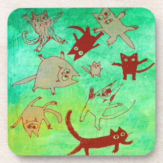 levitating kitties beverage coaster